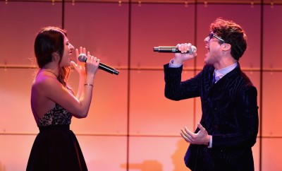 Mia Pfirrman and Darren Criss perform at TrevorLIVE.