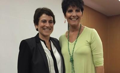 """Liz Abzug, left, and Lucie Arnaz at """"Women Making History"""" conference Oct. 17, 2015."""